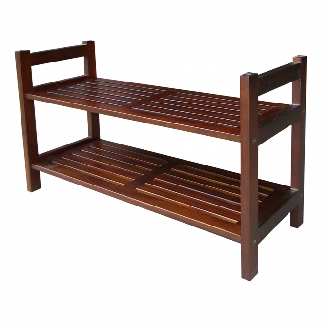 Ore International DSR001 15.5   Two Tiers Stackable Shoe Rack - Mahogany
