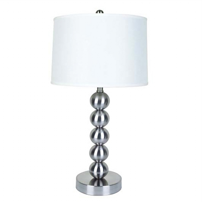 Ore International 6237 29   Metal Table Lamp - Satin Nickel
