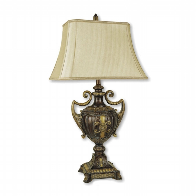 Ore International 8202 30   Urn-Shape Table Lamp - Antique Gold