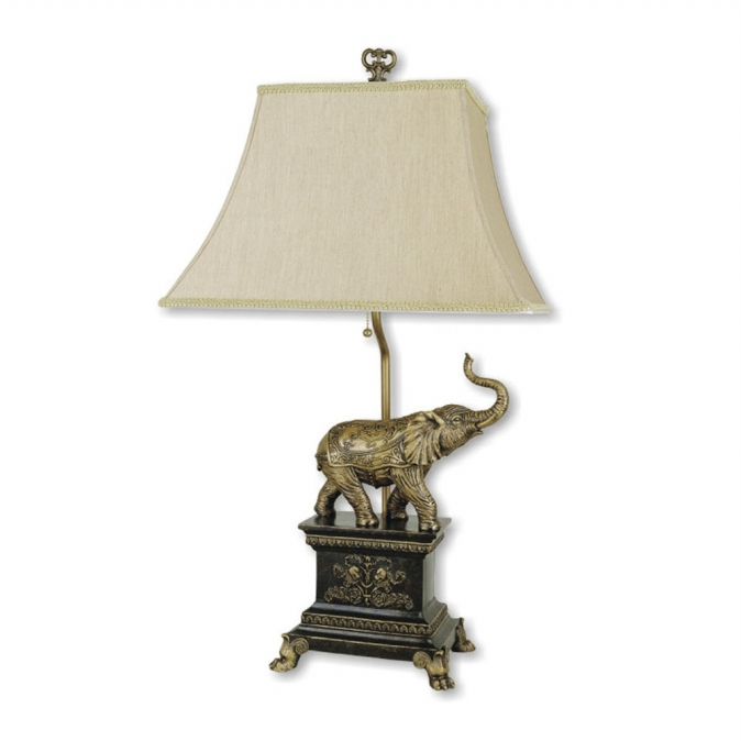 Ore International 8203 Elephant Table Lamp - Antique Gold