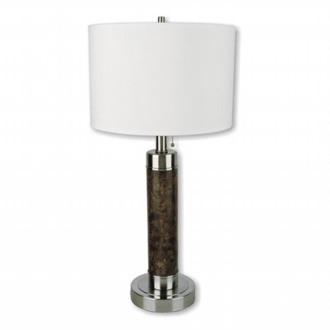 Ore International 31112 26   Cylinder Table Lamp - Walnut finish