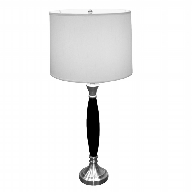 Ore International 31117 Wooden Table Lamp - Chrome