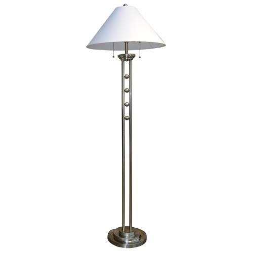 Ore International 6231FSN Metal Floor Lamp - Silvertone