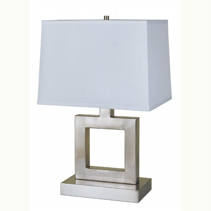 Ore International 8137S 22   Square Table Lamp - Satin Nickel