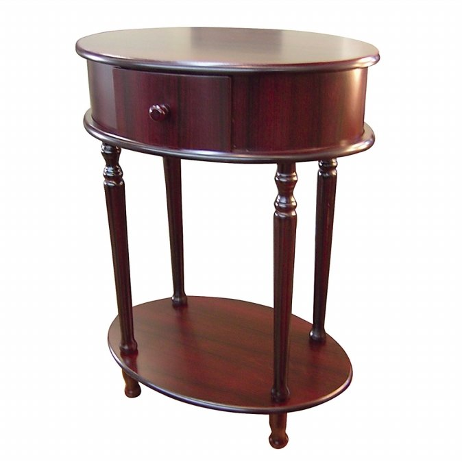 Ore International H-114 Oval Side Table - Cherry -28
