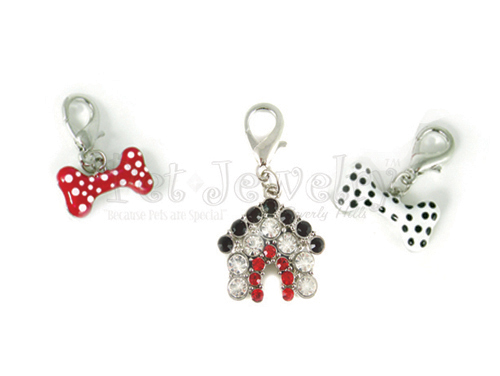 Pet Jewelry Beverly Hills 3p4 3 Pet Charms- Dog Charms- Collar Charms- Dog Collar Charms With Swarovski Crystals