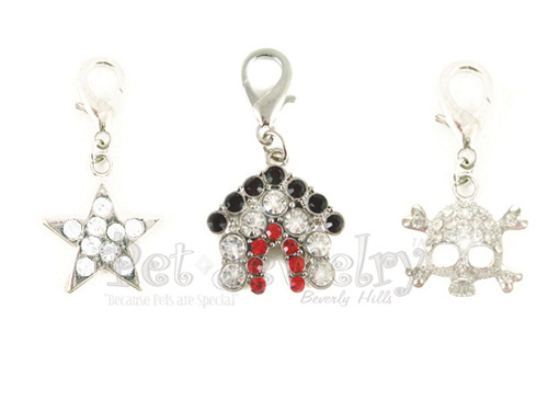 Pet Jewelry Beverly Hills 3p5 3 Pet Charms- Dog Charms- Collar Charms- Dog Collar Charms With Swarovski Crystals