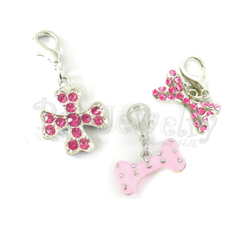 Pet Jewelry Beverly Hills 3p6 3 Pet Charms- Dog Charms- Collar Charms- Dog Collar Charms With Swarovski Crystals