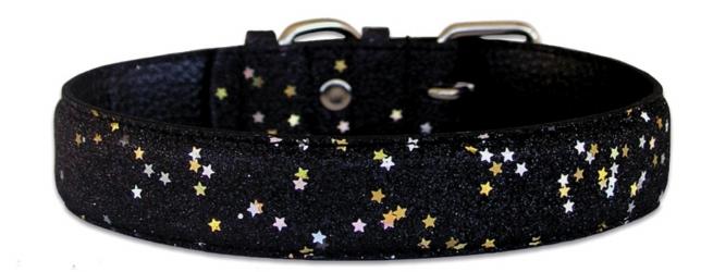 Black Leather Bling Glitter Collar