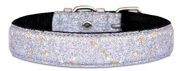 Silver Glitter Bling Leather Dog Collar