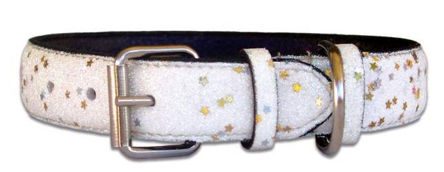 White Leather White Bling Dog Collar
