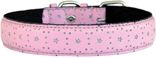 Pink Leather Bling Star Dog Collar