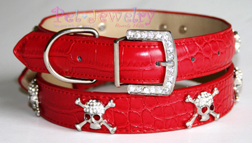 Pet Jewelry Beverly Hills ssr20 Dog Collar And Leash Set- 20-Inch Swarovski Crystal Skull Dog Collars and Leash Set- Red