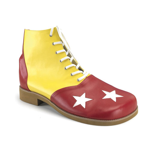 Funtasma Clown-02 Yellow-Red Pump With White Stars Clown Shoe Size 1