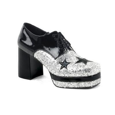Funtasma Glamrock-02 Black Pat-Silver Glt Men S Platform Shoe 3.5 Inch Size M