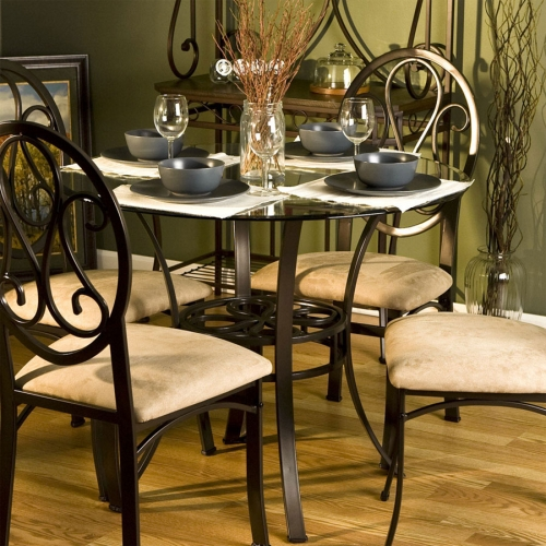 Southern Enterprises DN1490 Lucianna Dining Table with Glass Top