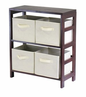 Winsome 92861 Capri 2 Section M Storage Shelf with 4 Foldable Fabric Baskets - Walnut and Beige