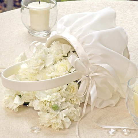Cathys Concepts 8001I Ivory Elegant Chiffon Flower Girl Basket