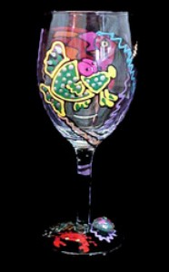 Bellissimo W0997STEM Hand Painted Fantasy Fish Design 8 oz. Wine Glass