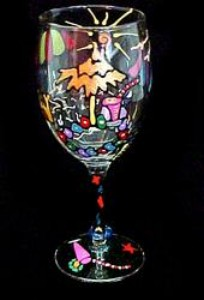 Bellissimo W1202STEM Hand Painted Beach Party Design 8 oz. Wine Glass