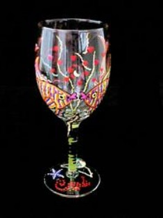 Bellissimo W2201STEM Hand Painted Flirty Fish Design 8 oz. Wine Glass