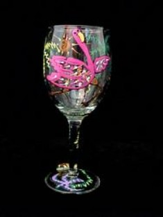 Bellissimo W3000STEM Hand Painted Flamingo Frolic Design 8 oz. Wine Glass