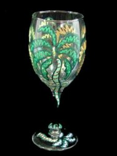Bellissimo W3001STEM Hand Painted Party Palms Design 8 oz. Wine Glass