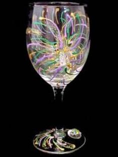 Bellissimo W3098STEM Hand Painted Mardi Gras Fireworks Design 8 oz. Wine Glass