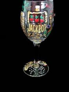 Bellissimo W3297STEM Hand Painted Casino Magic Slots Design 8 oz. Wine Glass