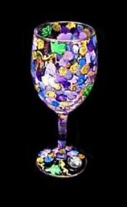 Bellissimo W9096STEM Hand Painted Wines  Vines Design 8 oz. Wine Glass