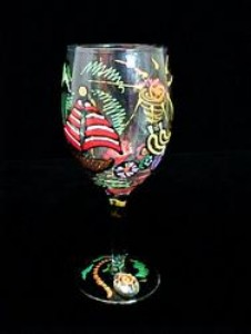 Bellissimo W9196STEM Hand Painted Caribbean Excitement Design 8 oz. Wine Glass