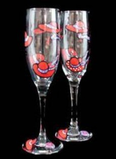 Bellissimo WFS2006 Hand Painted Red Hat Dazzle Design 6 oz 8.75 Inch Champagne Flutes  Set of 2