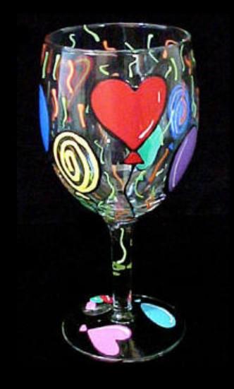 Bellissimo GW0297STEM Hand Painted Birthday Balloons Design Grande 16 oz. Wine Glass