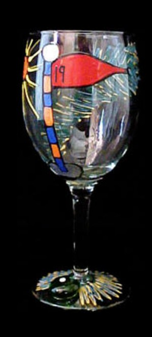 Bellissimo GW0796STEM Hand Painted Golf  19th Hole Design Grande 16 oz. Wine Glass