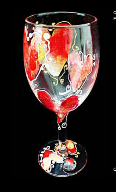 Bellissimo GW1001STEM Hand Painted Hearts of Fire Design Grande 16 oz. Wine Glass