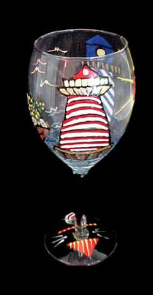 Bellissimo GW1101STEM Hand Painted Lively Lighthouses Design Grande 16 oz. Wine Glass