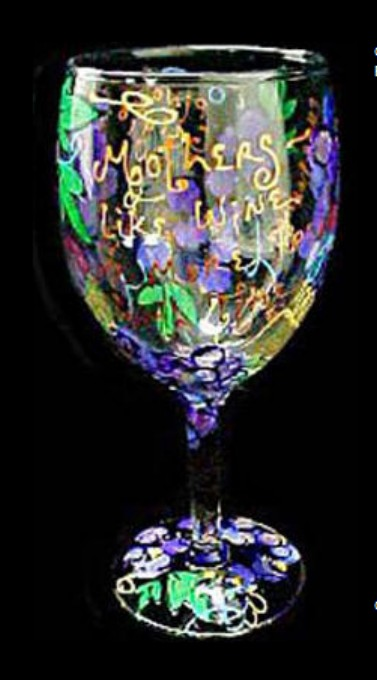 Bellissimo GW1697STEM Hand Painted Mothers like Wine Design Grande 16 oz. Wine Glass