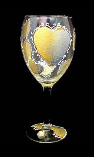 Bellissimo GW1797STEM Hand Painted Bride s Heirloom Design Grande 16 oz. Wine Glass