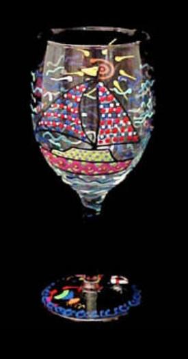 Bellissimo GW1800STEM Hand Painted Sailboat Regatta Design Grande 16 oz. Wine Glass