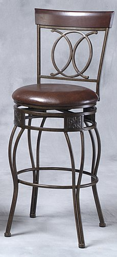 Linon 02565MTL-01-KD-U O & X Back Bar Stool- Matte Bronze