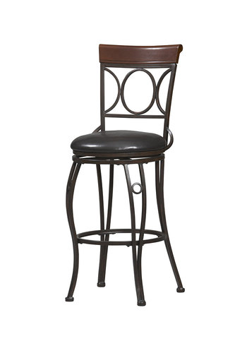Linon 02730MTL-01-KD-U Circles Back Counter Stool 24 inch- Brown & Black