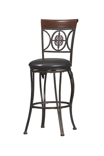 Linon 02732MTL-01-KD-U Fleur De Lis Counter Stool 24 inch- Dark Antique Gold Frame - Brown Wood