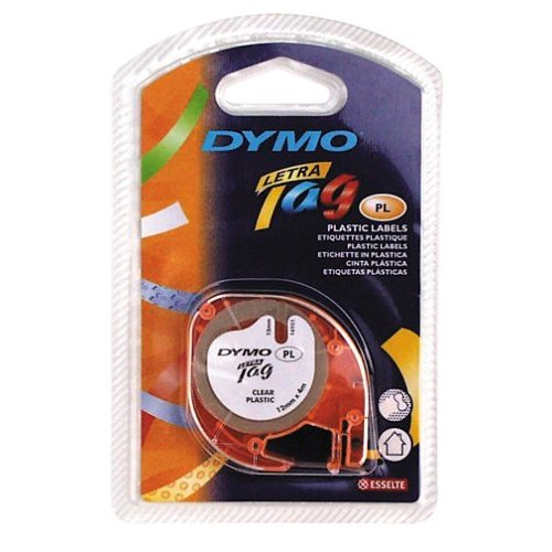 "Dymo 16952 LetraTag Tape Black on Clear 1/2"" x 13' Plastic"