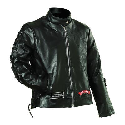 Diamond Plate GFLADLTRS Small Ladies' Rock Design Genuine Buffalo Leather Motorcycle Jacket