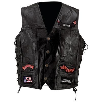 Diamond Plate GFVBIK144X Diamond Plate Rock Pattern Black Buffalo Leather Vest with Patches - Size 4X