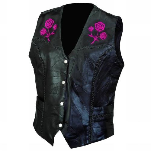 Live-Ride-Rock GFVROSES Diamond Plate Rock Ladies Leather Vest-L