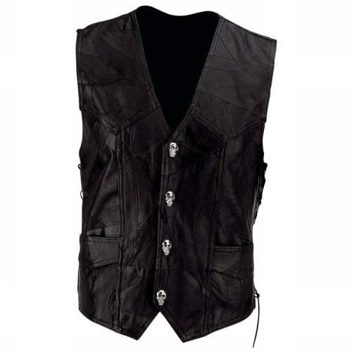 Diamond Plate GFVSCB2X Diamond Plate Mens Black Buffalo Leather Motorcycle Vest with Skull Patch - Size 2X