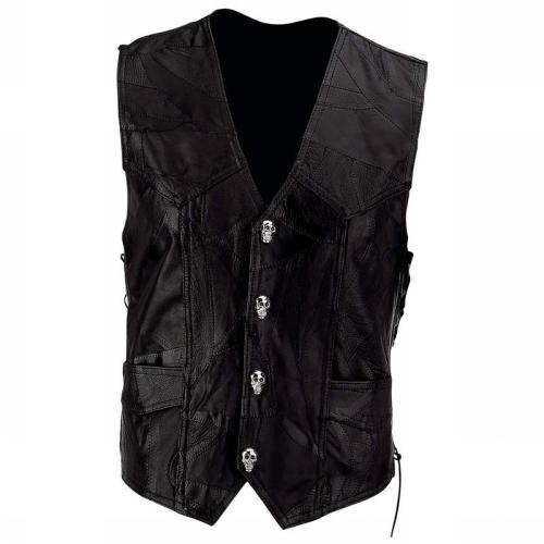 Diamond Plate GFVSCB3X Diamond Plate Mens Black Buffalo Leather Motorcycle Vest with Skull Patch - Size 3X