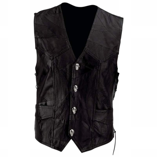 Diamond Plate GFVSCBXL Diamond Plate Mens Black Buffalo Leather Motorcycle Vest with Skull Patch - X-Large