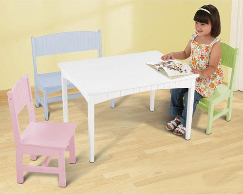 KidKraft 26112 Nantucket Table with Bench and 2 Chairs-Pastel